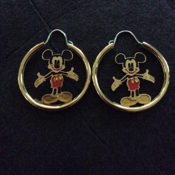 Disney Jewelry Gold Plated Mickey Mouse Hoop Earrings Poshmark